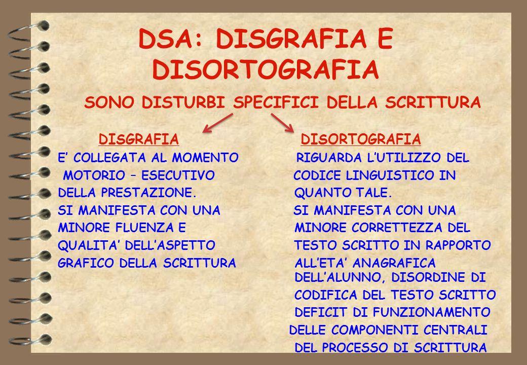 DSA: DISGRAFIA E DISORTOGRAFIA SONO DISTURBI SPECIFICI DELLA SCRITTURA DISGRAFIA DISORTOGRAFIA E COLLEGATA AL MOMENTO RIGUARDA LUTILIZZO DEL MOTORIO –