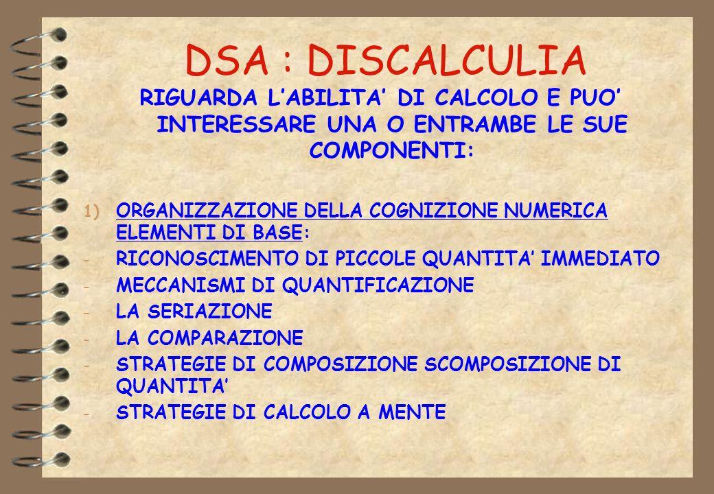 DSA : DISCALCULIA RIGUARDA LABILITA DI CALCOLO E PUO INTERESSARE UNA O ENTRAMBE LE SUE COMPONENTI: 1) ORGANIZZAZIONE DELLA COGNIZIONE NUMERICA ELEMENT