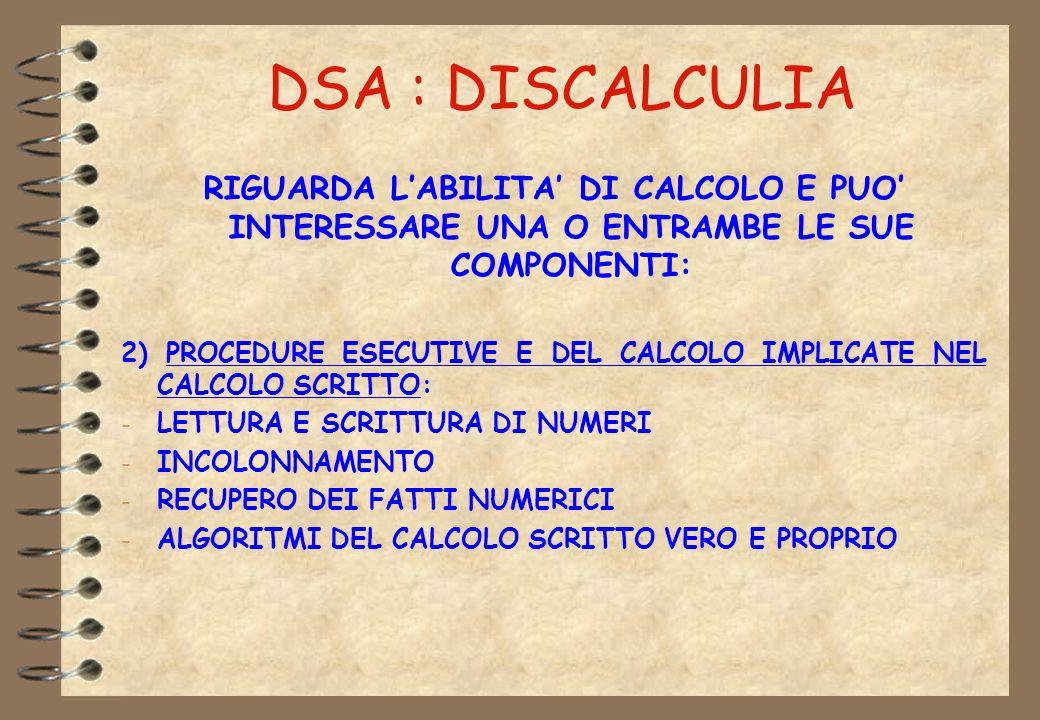 DSA : DISCALCULIA RIGUARDA LABILITA DI CALCOLO E PUO INTERESSARE UNA O ENTRAMBE LE SUE COMPONENTI: 2) PROCEDURE ESECUTIVE E DEL CALCOLO IMPLICATE NEL