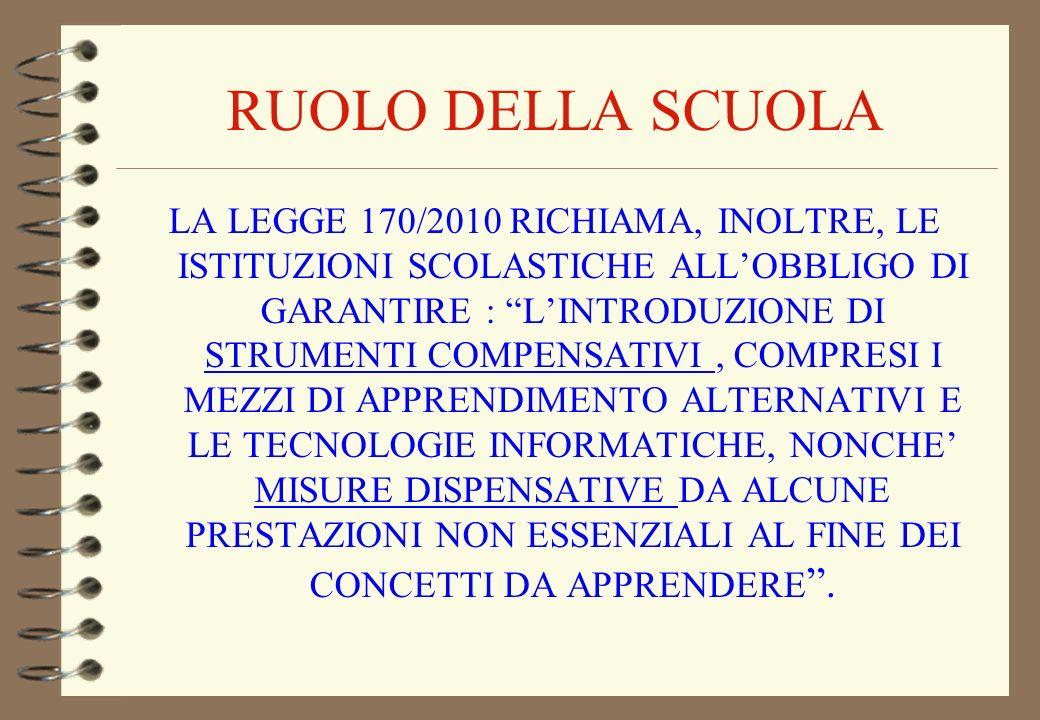 RUOLO DELLA SCUOLA LA LEGGE 170/2010 RICHIAMA, INOLTRE, LE ISTITUZIONI SCOLASTICHE ALLOBBLIGO DI GARANTIRE : LINTRODUZIONE DI STRUMENTI COMPENSATIVI,