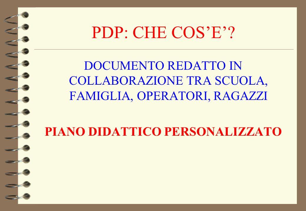 PDP: CHE COSE? DOCUMENTO REDATTO IN COLLABORAZIONE TRA SCUOLA, FAMIGLIA, OPERATORI, RAGAZZI PIANO DIDATTICO PERSONALIZZATO