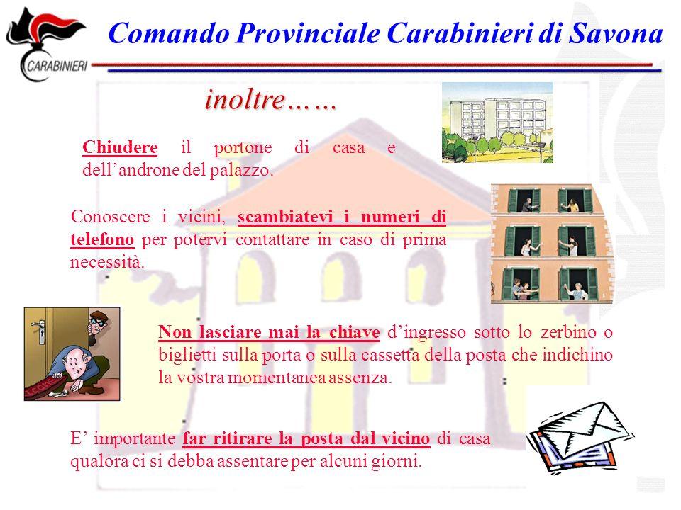 Comando Provinciale Carabinieri di Savona inoltre…… Chiudere il portone di casa e dellandrone del palazzo.