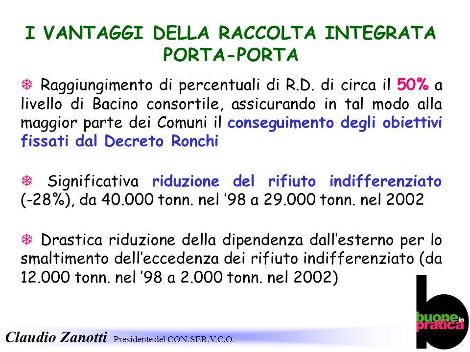 Claudio Zanotti Presidente del CON.SER.V.C.O. I VANTAGGI DELLA RACCOLTA INTEGRATA PORTA-PORTA Raggiungimento di percentuali di R.D. di circa il 50% a