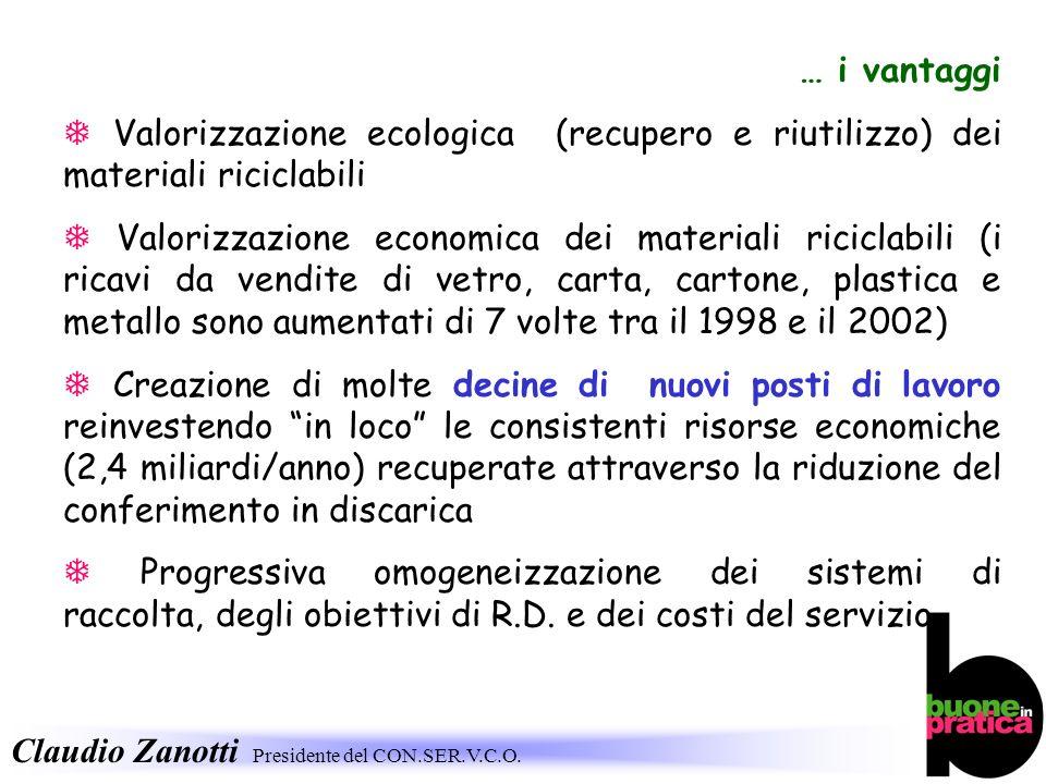 Claudio Zanotti Presidente del CON.SER.V.C.O. … i vantaggi Valorizzazione ecologica (recupero e riutilizzo) dei materiali riciclabili Valorizzazione e