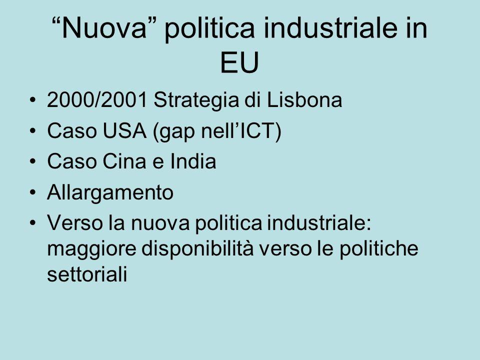 Nuova politica industriale in EU 2000/2001 Strategia di Lisbona Caso USA (gap nellICT) Caso Cina e India Allargamento Verso la nuova politica industriale: maggiore disponibilità verso le politiche settoriali