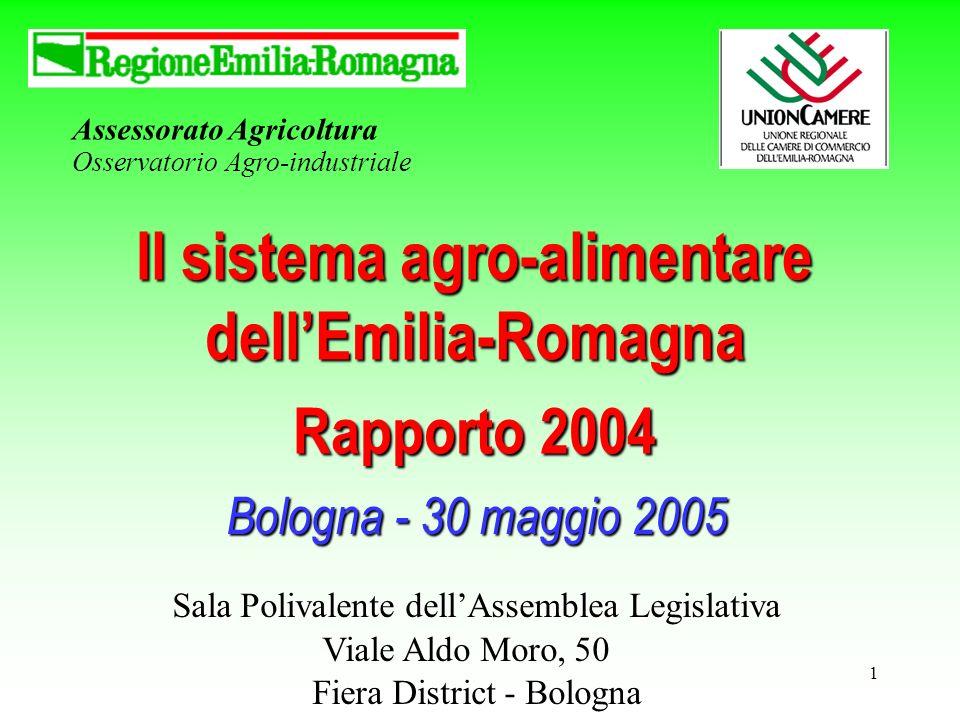 1 Assessorato Agricoltura Osservatorio Agro-industriale Il sistema agro-alimentare dellEmilia-Romagna Rapporto 2004 Bologna - 30 maggio 2005 Sala Polivalente dellAssemblea Legislativa Viale Aldo Moro, 50 Fiera District - Bologna