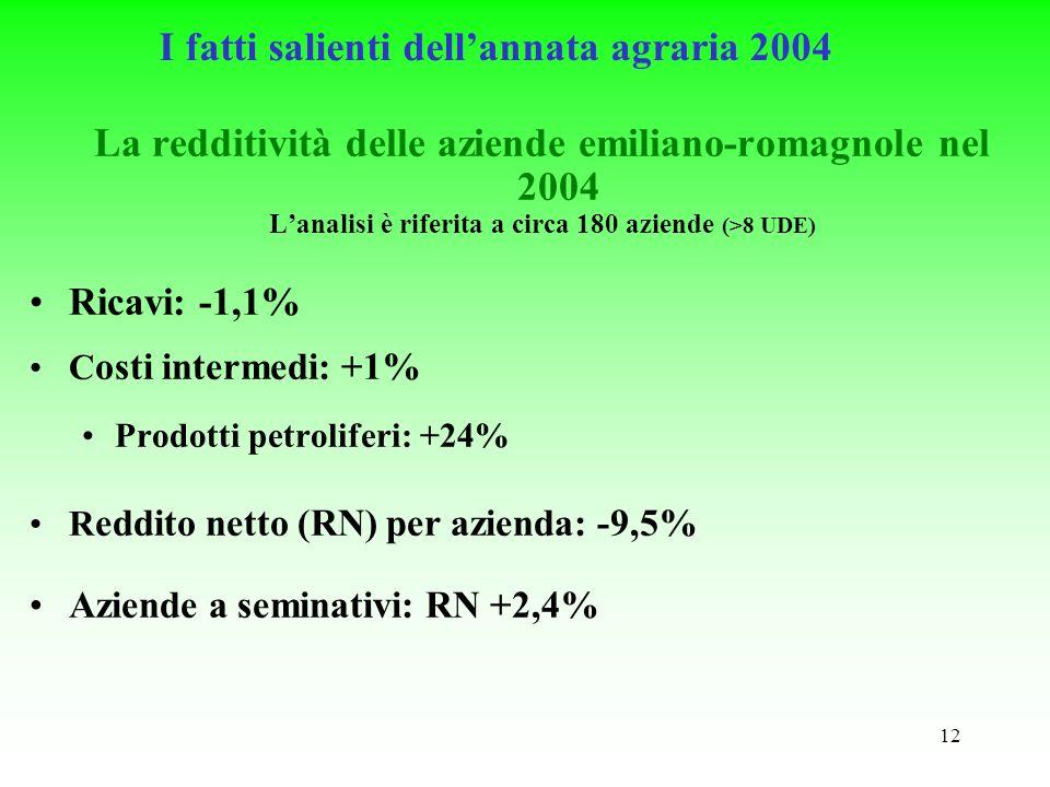 12 I fatti salienti dellannata agraria 2004 La redditività delle aziende emiliano-romagnole nel 2004 Lanalisi è riferita a circa 180 aziende (>8 UDE) Ricavi: -1,1% C osti intermedi: +1% Prodotti petroliferi: +24% R eddito netto (RN) per azienda: -9,5% Aziende a seminativi: RN +2,4%