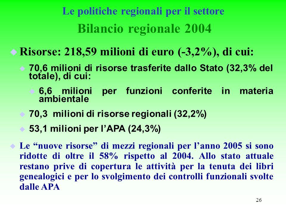 26 Le politiche regionali per il settore Bilancio regionale 2004 Risorse: 218,59 milioni di euro (-3,2%), di cui: 70,6 milioni di risorse trasferite dallo Stato (32,3% del totale), di cui: 6,6 milioni per funzioni conferite in materia ambientale 70,3 milioni di risorse regionali (32,2%) 53,1 milioni per lAPA (24,3%) Le nuove risorse di mezzi regionali per lanno 2005 si sono ridotte di oltre il 58% rispetto al 2004.