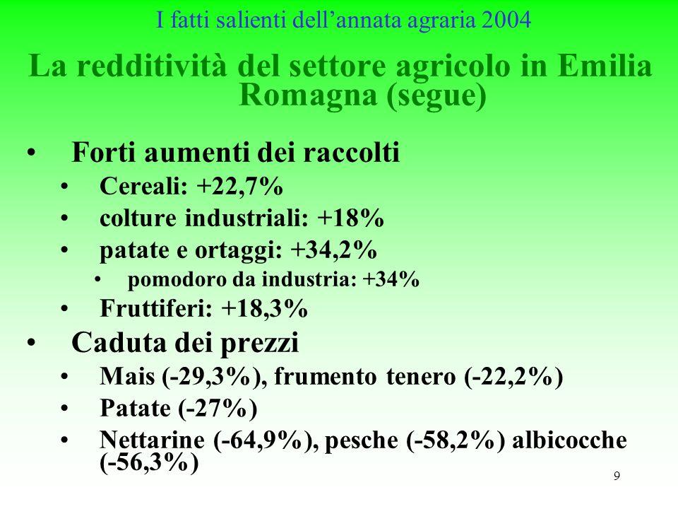 9 I fatti salienti dellannata agraria 2004 La redditività del settore agricolo in Emilia Romagna (segue) Forti aumenti dei raccolti Cereali: +22,7% colture industriali: +18% patate e ortaggi: +34,2% pomodoro da industria: +34% Fruttiferi: +18,3% Caduta dei prezzi Mais (-29,3%), frumento tenero (-22,2%) Patate (-27%) Nettarine (-64,9%), pesche (-58,2%) albicocche (-56,3%)