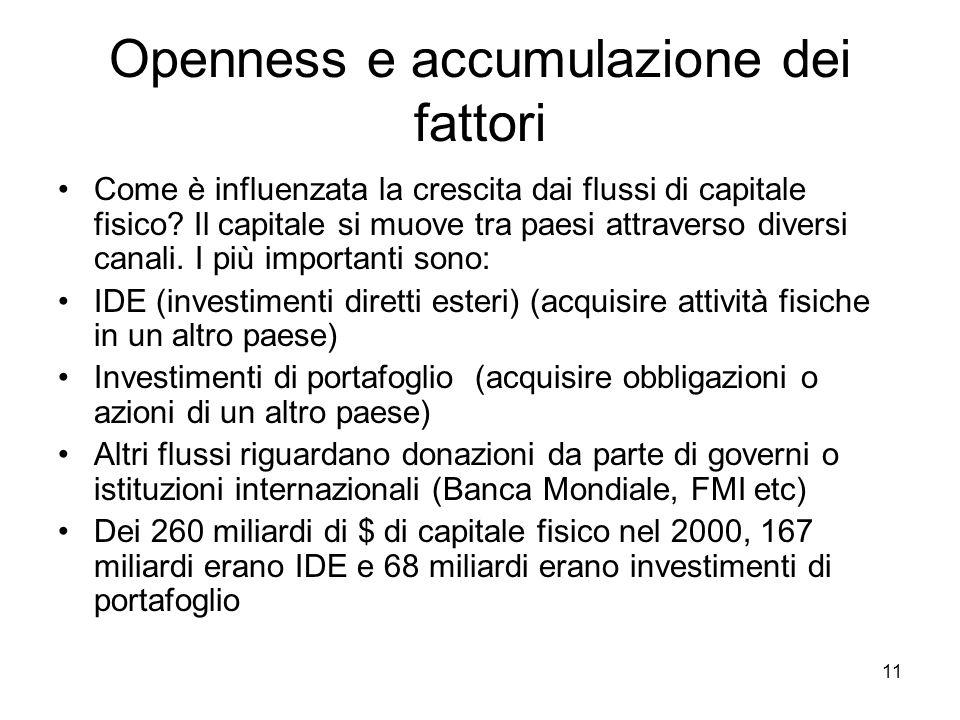 11 Openness e accumulazione dei fattori Come è influenzata la crescita dai flussi di capitale fisico? Il capitale si muove tra paesi attraverso divers