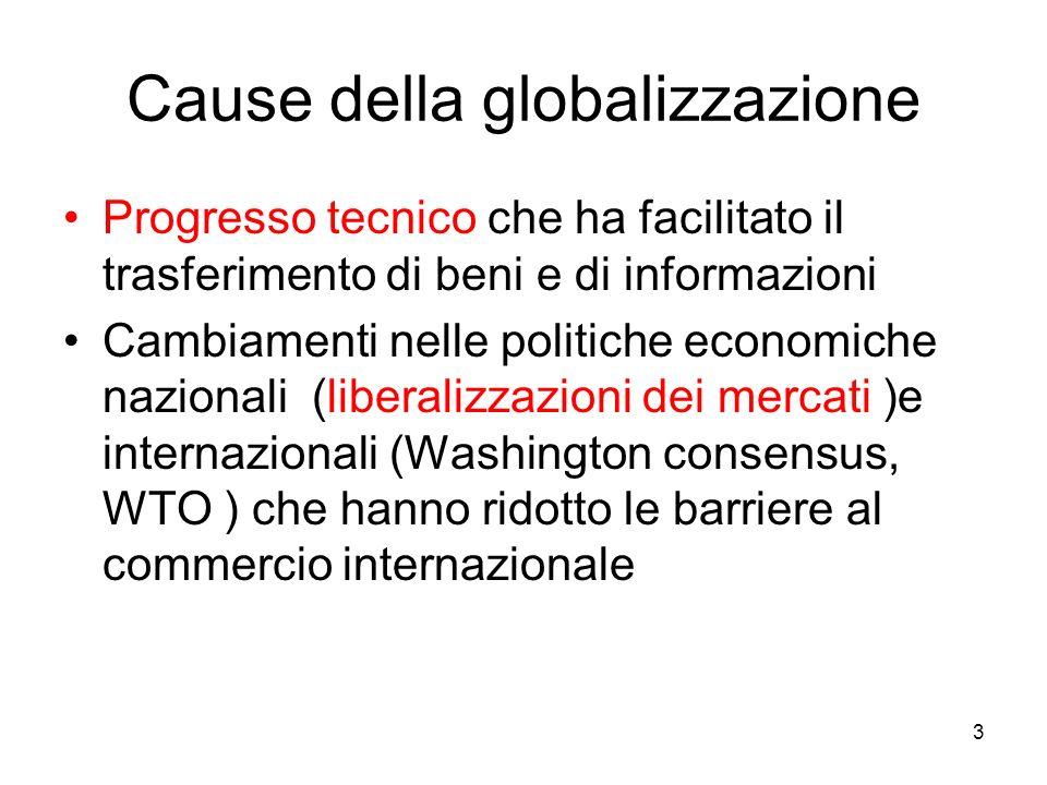 3 Cause della globalizzazione Progresso tecnico che ha facilitato il trasferimento di beni e di informazioni Cambiamenti nelle politiche economiche na
