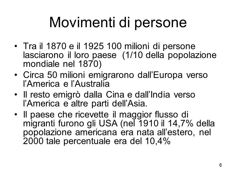 6 Movimenti di persone Tra il 1870 e il 1925 100 milioni di persone lasciarono il loro paese (1/10 della popolazione mondiale nel 1870) Circa 50 milio
