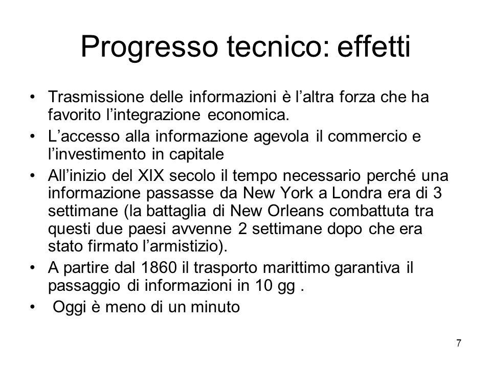 7 Progresso tecnico: effetti Trasmissione delle informazioni è laltra forza che ha favorito lintegrazione economica. Laccesso alla informazione agevol