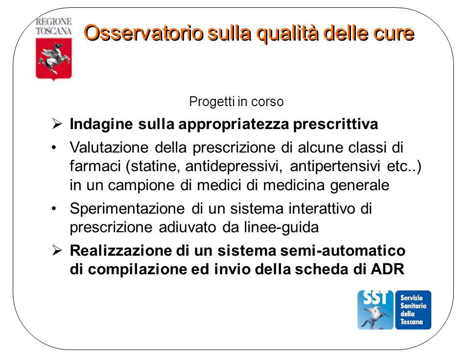 Progetti in corso Indagine sulla appropriatezza prescrittiva Valutazione della prescrizione di alcune classi di farmaci (statine, antidepressivi, anti