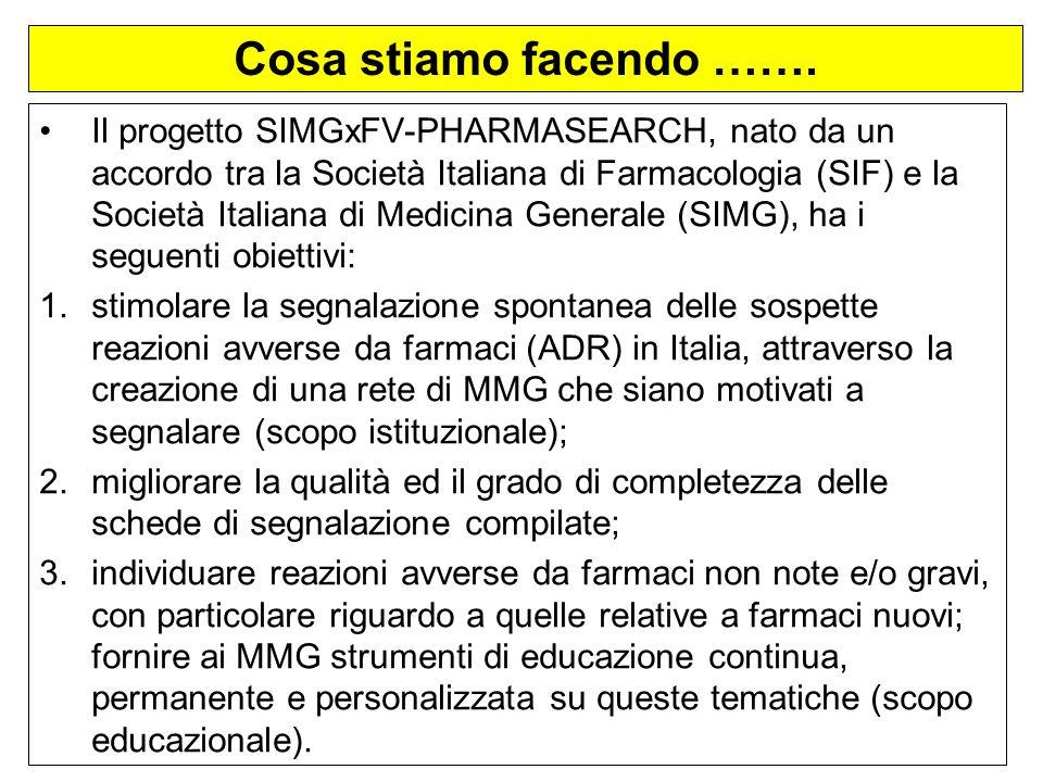 Cosa stiamo facendo ……. Il progetto SIMGxFV-PHARMASEARCH, nato da un accordo tra la Società Italiana di Farmacologia (SIF) e la Società Italiana di Me