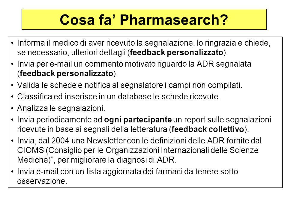 Cosa fa Pharmasearch? Informa il medico di aver ricevuto la segnalazione, lo ringrazia e chiede, se necessario, ulteriori dettagli (feedback personali