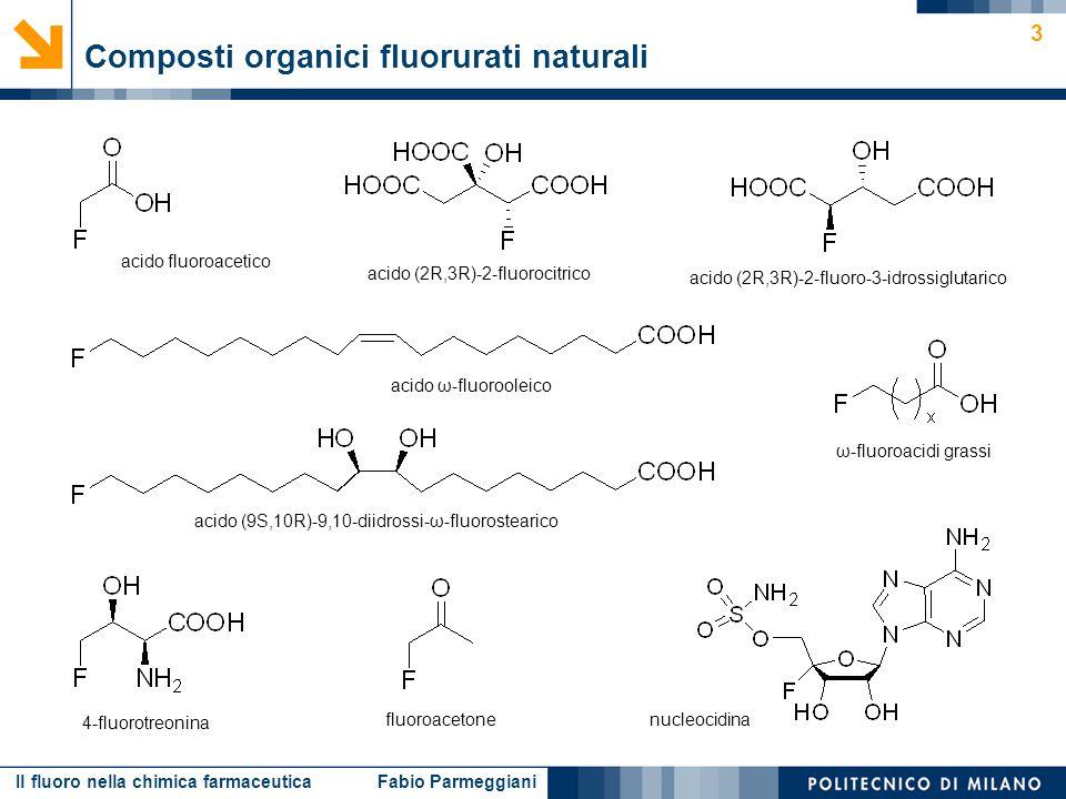 Il fluoro nella chimica farmaceutica Fabio Parmeggiani 14 Esempio: sviluppo di inibitori della trombina – simulazione dellinterazione substrato-enzima Effetto conformazionale ΔΔG = –1.1 kcal/mol X K i [μM] H 1.60 F0.26 X