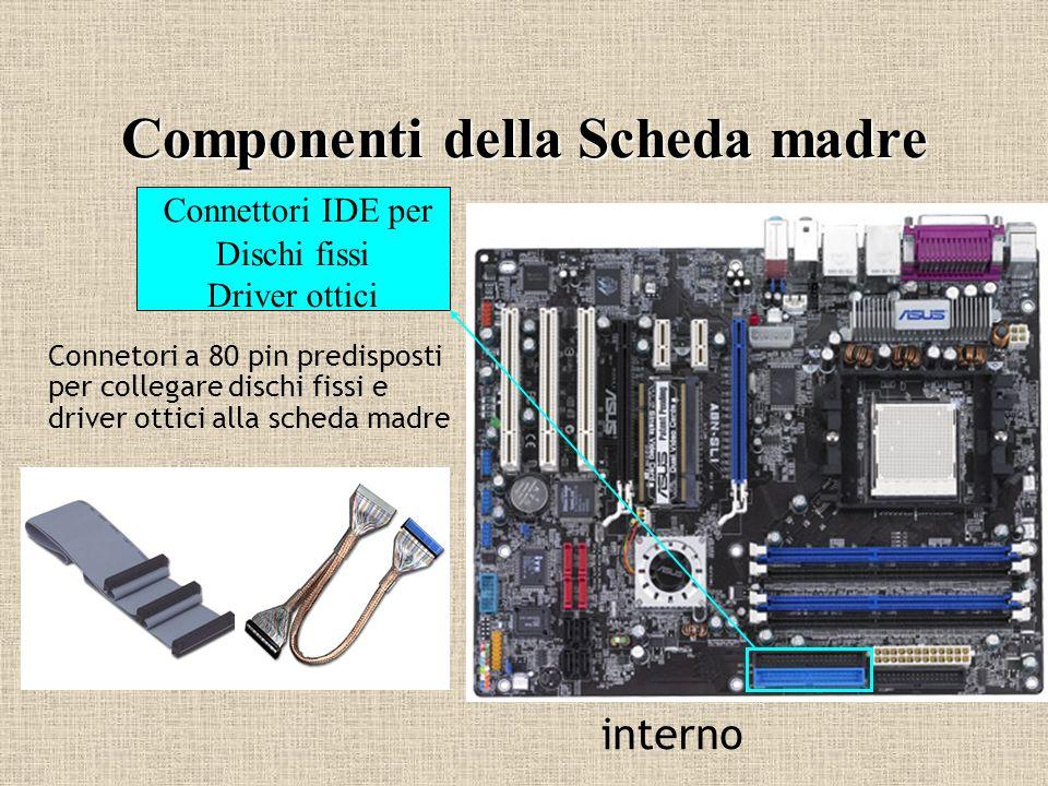 Componenti della Scheda madre Connettori IDE per Dischi fissi Driver ottici Connetori a 80 pin predisposti per collegare dischi fissi e driver ottici