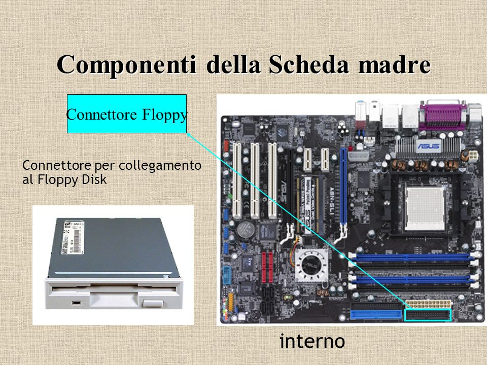 Componenti della Scheda madre Connettore Floppy Connettore per collegamento al Floppy Disk interno