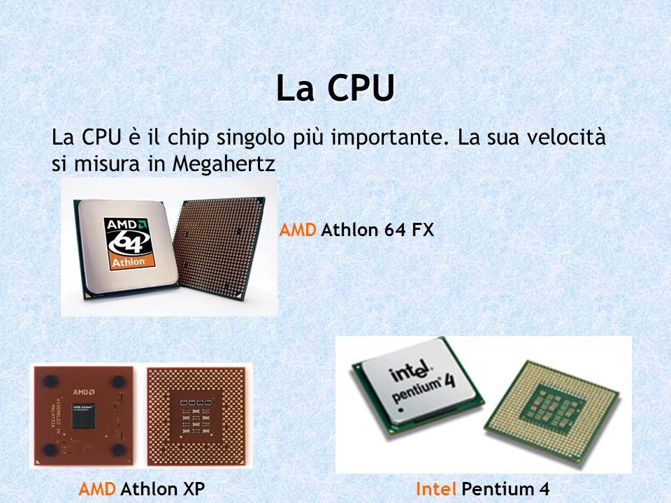 La CPU La CPU è il chip singolo più importante. La sua velocità si misura in Megahertz AMD Athlon XPIntel Pentium 4 AMD Athlon 64 FX