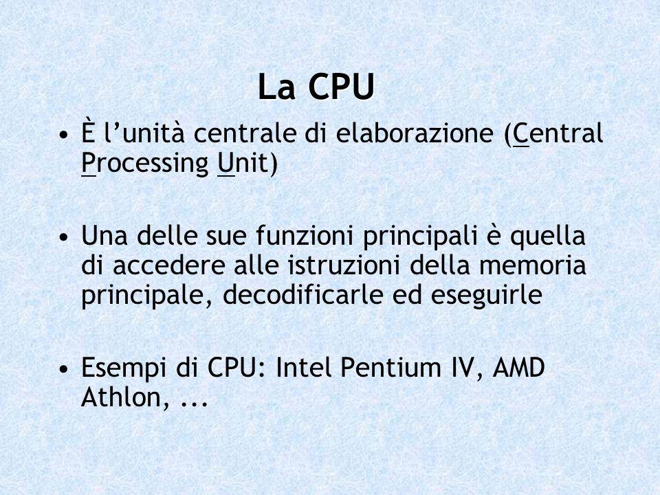 È lunità centrale di elaborazione (Central Processing Unit) Una delle sue funzioni principali è quella di accedere alle istruzioni della memoria princ