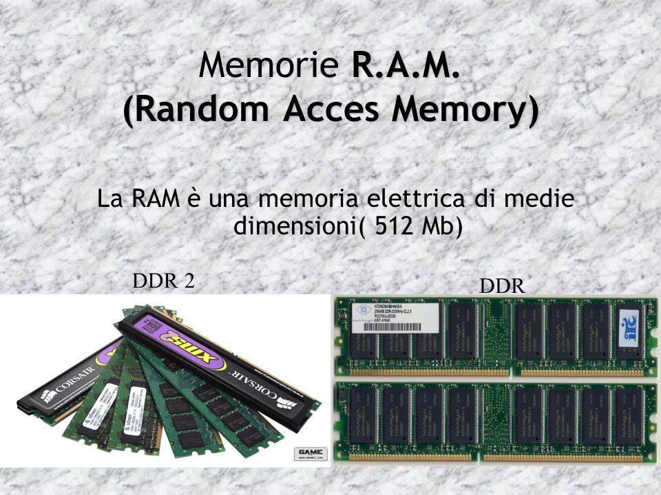 R.A.M. (Random Acces Memory) Memorie R.A.M. (Random Acces Memory) La RAM è una memoria elettrica di medie dimensioni( 512 Mb) DDR 2 DDR