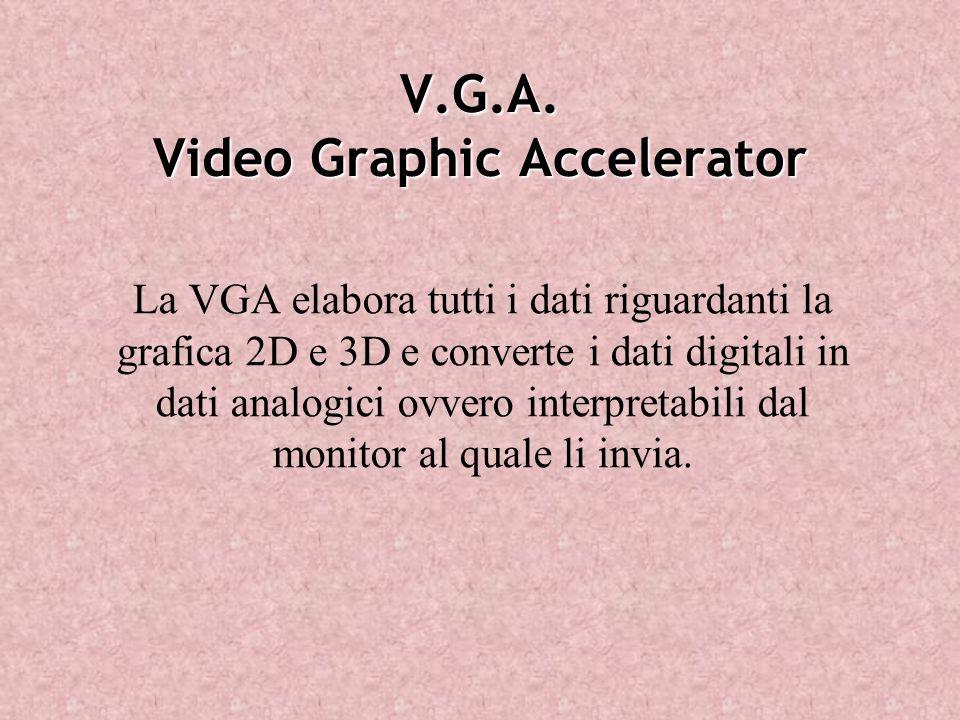 V.G.A. Video Graphic Accelerator La VGA elabora tutti i dati riguardanti la grafica 2D e 3D e converte i dati digitali in dati analogici ovvero interp