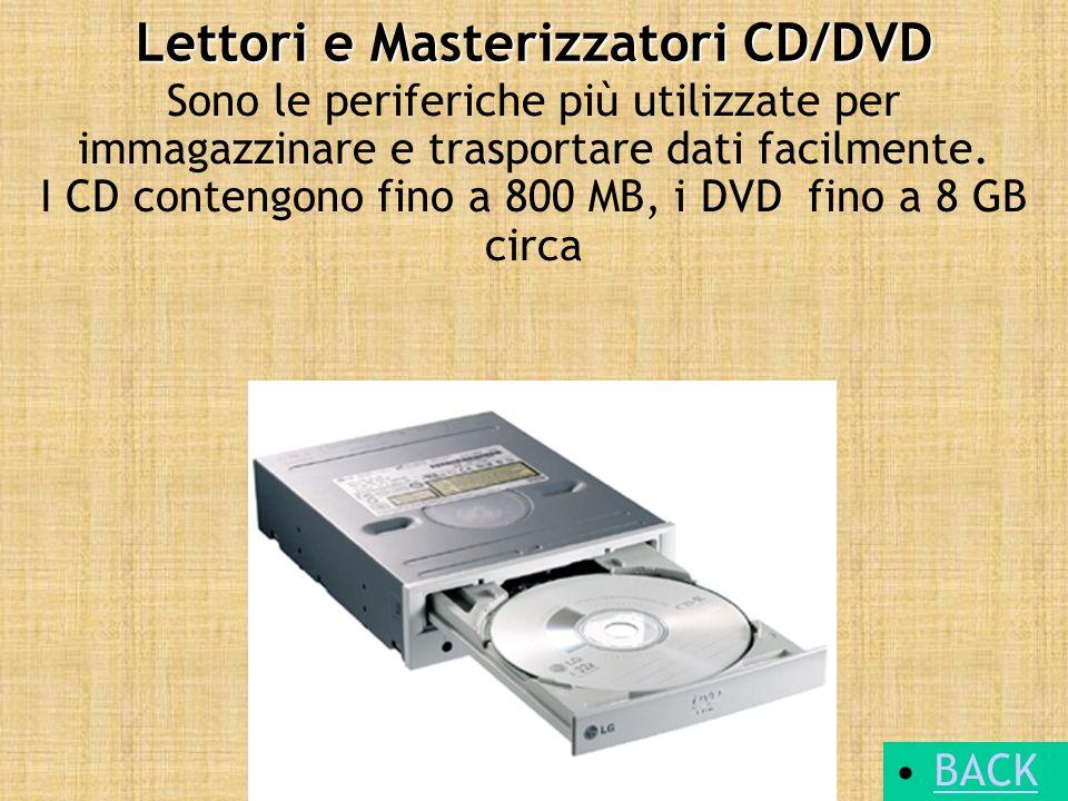 Lettori e Masterizzatori CD/DVD Sono le periferiche più utilizzate per immagazzinare e trasportare dati facilmente. I CD contengono fino a 800 MB, i D