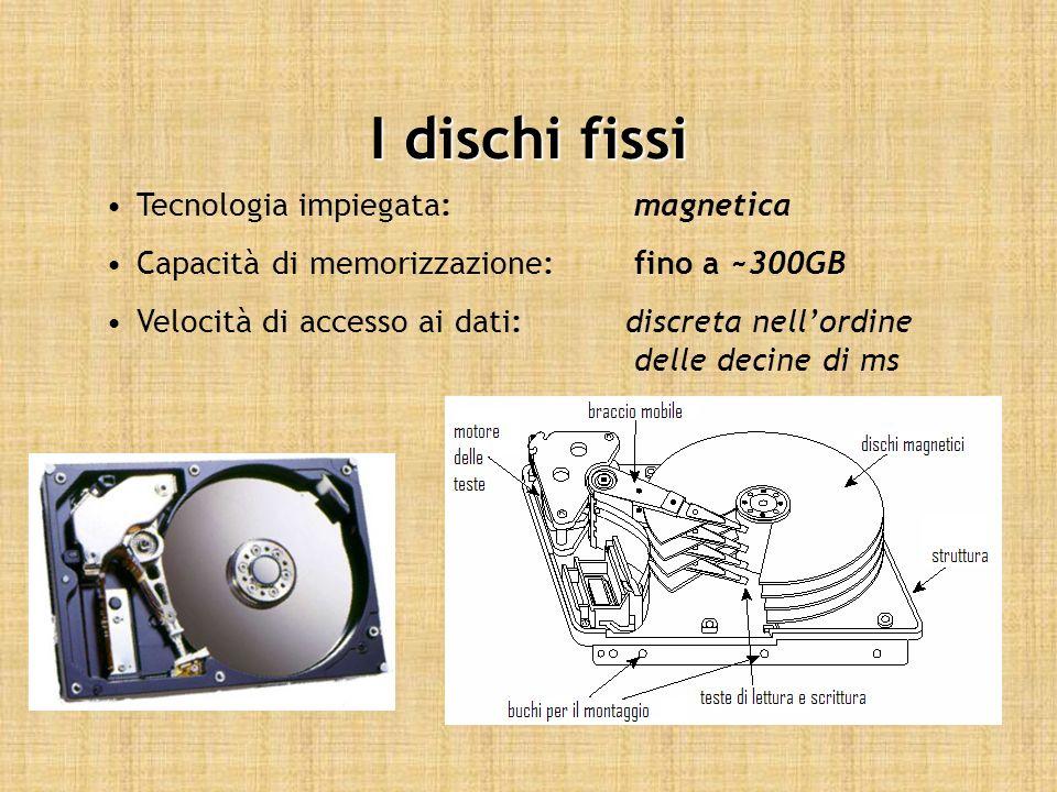 I dischi fissi Tecnologia impiegata:magnetica Capacità di memorizzazione:fino a ~300GB Velocità di accesso ai dati: discreta nellordine delle decine d