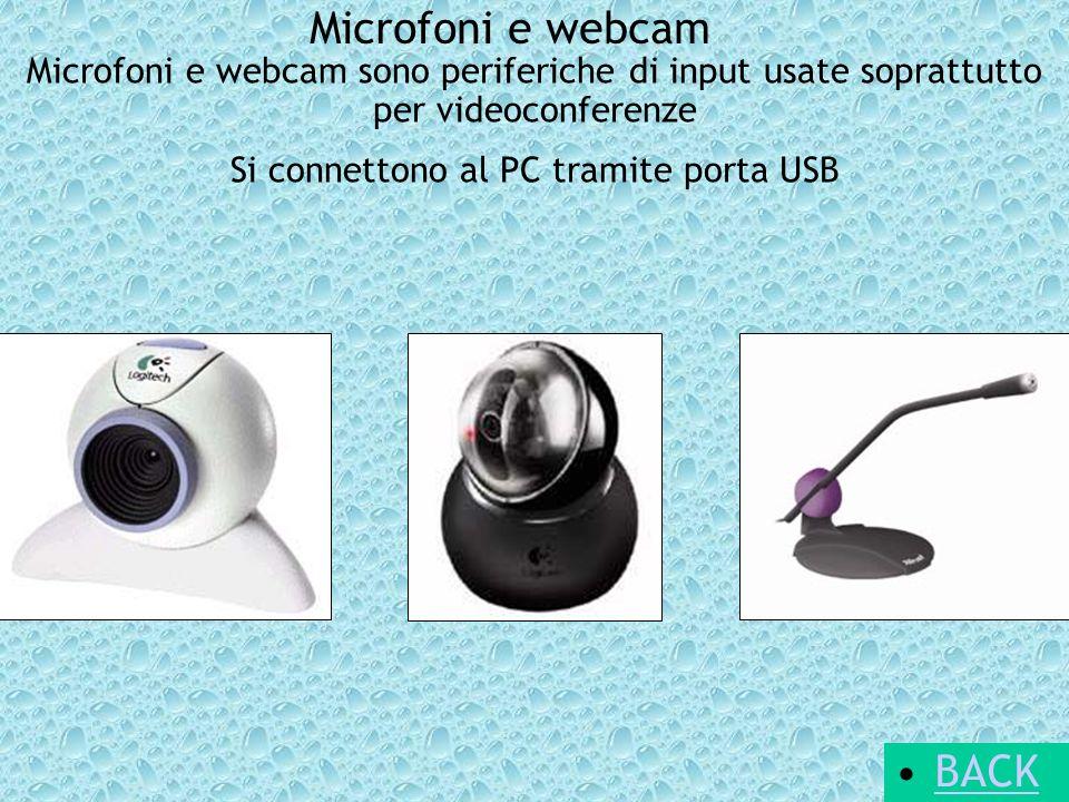 Microfoni e webcam Microfoni e webcam sono periferiche di input usate soprattutto per videoconferenze Si connettono al PC tramite porta USB BACK