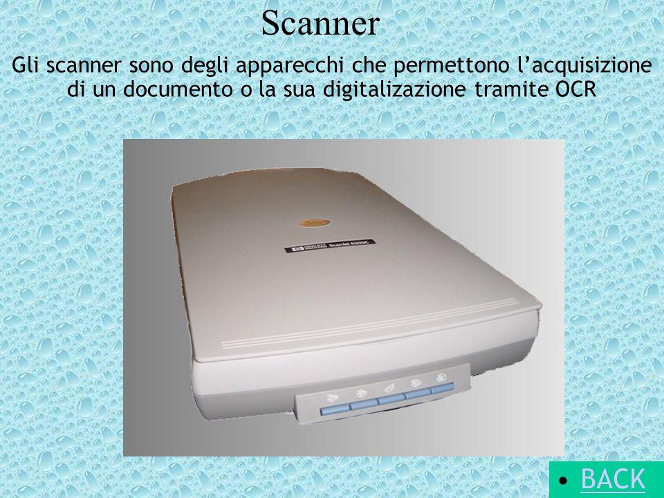 Scanner BACK Gli scanner sono degli apparecchi che permettono lacquisizione di un documento o la sua digitalizazione tramite OCR