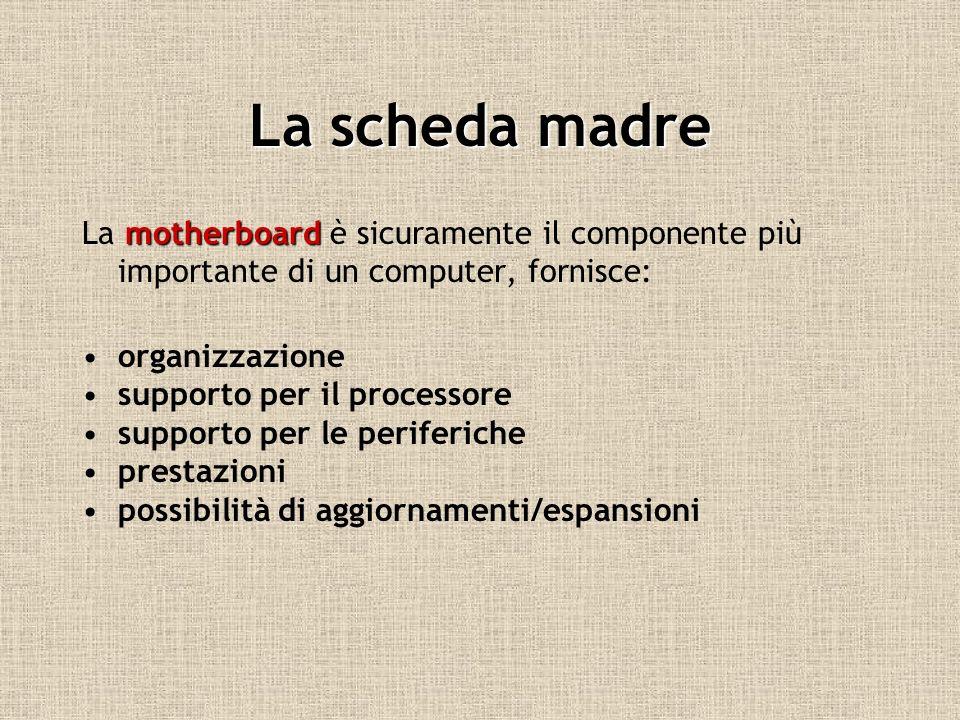 La scheda madre La m mm motherboard è sicuramente il componente più importante di un computer, fornisce: organizzazione supporto per il processore sup