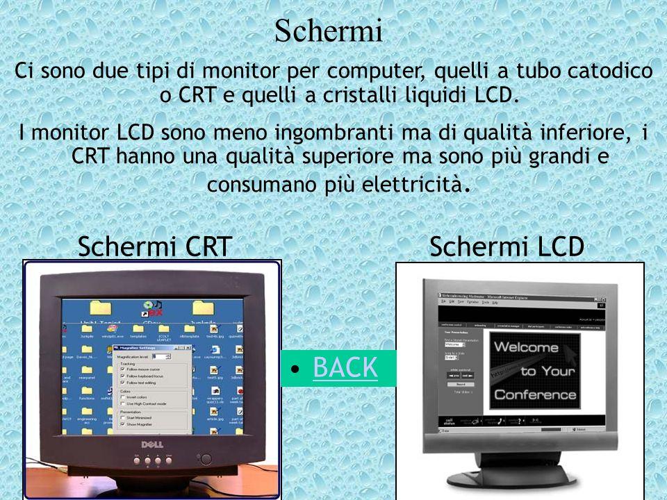 Schermi Ci sono due tipi di monitor per computer, quelli a tubo catodico o CRT e quelli a cristalli liquidi LCD. I monitor LCD sono meno ingombranti m