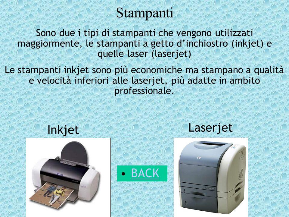 Stampanti Sono due i tipi di stampanti che vengono utilizzati maggiormente, le stampanti a getto dinchiostro (inkjet) e quelle laser (laserjet) Le sta