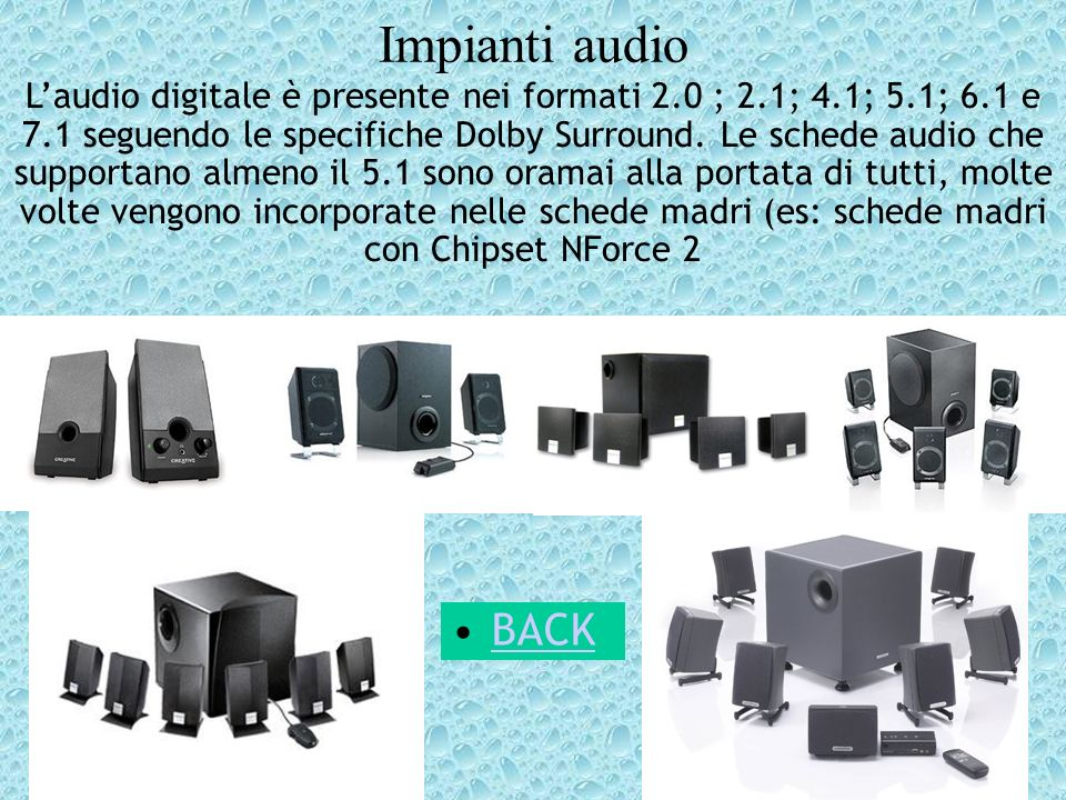 Impianti audio Laudio digitale è presente nei formati 2.0 ; 2.1; 4.1; 5.1; 6.1 e 7.1 seguendo le specifiche Dolby Surround. Le schede audio che suppor