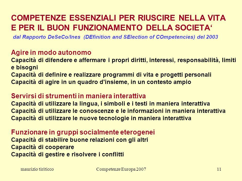 maurizio tiriticcoCompetenze Europa 200711 COMPETENZE ESSENZIALI PER RIUSCIRE NELLA VITA E PER IL BUON FUNZIONAMENTO DELLA SOCIETA dal Rapporto DeSeCo/Ines (DEfinition and SElection of COmpetencies) del 2003 Agire in modo autonomo Capacità di difendere e affermare i propri diritti, interessi, responsabilità, limiti e bisogni Capacità di definire e realizzare programmi di vita e progetti personali Capacità di agire in un quadro d insieme, in un contesto ampio Servirsi di strumenti in maniera interattiva Capacità di utilizzare la lingua, i simboli e i testi in maniera interattiva Capacità di utilizzare le conoscenze e le informazioni in maniera interattiva Capacità di utilizzare le nuove tecnologie in maniera interattiva Funzionare in gruppi socialmente eterogenei Capacità di stabilire buone relazioni con gli altri Capacità di cooperare Capacità di gestire e risolvere i conflitti