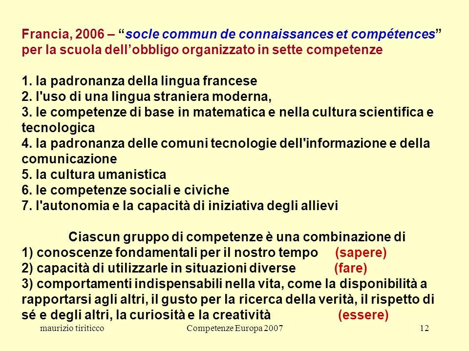 maurizio tiriticcoCompetenze Europa 200712 Francia, 2006 – socle commun de connaissances et compétences per la scuola dellobbligo organizzato in sette competenze 1.