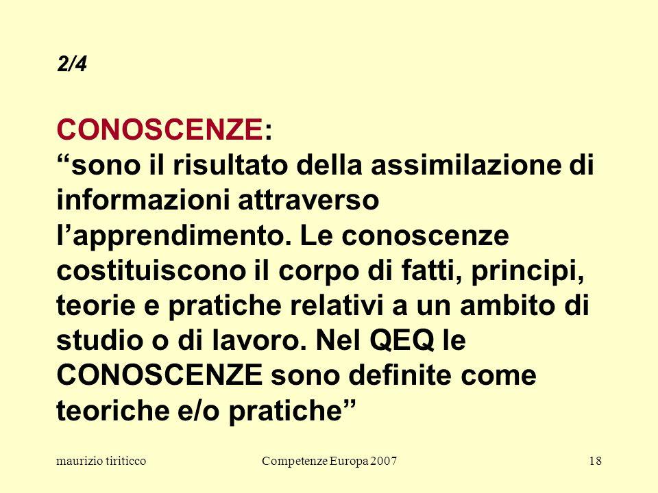 maurizio tiriticcoCompetenze Europa 200718 2/4 CONOSCENZE: sono il risultato della assimilazione di informazioni attraverso lapprendimento.