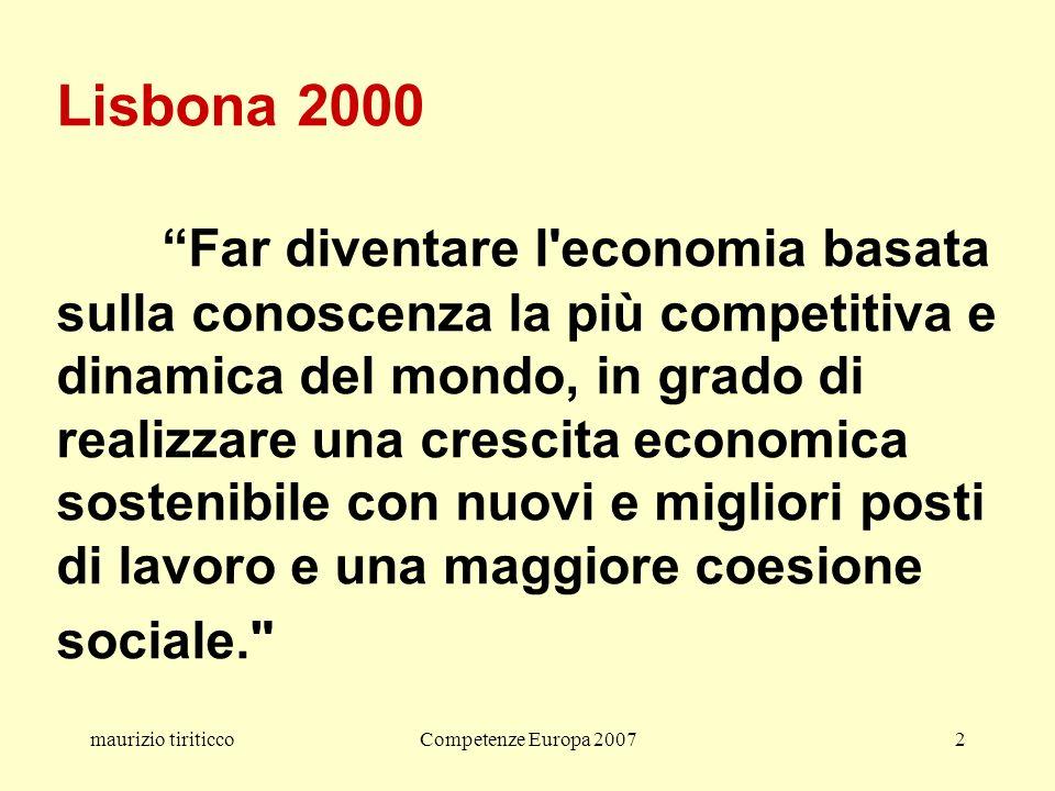 maurizio tiriticcoCompetenze Europa 20072 Lisbona 2000 Far diventare l economia basata sulla conoscenza la più competitiva e dinamica del mondo, in grado di realizzare una crescita economica sostenibile con nuovi e migliori posti di lavoro e una maggiore coesione sociale.