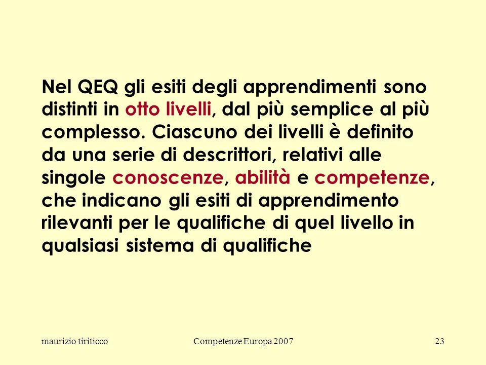 maurizio tiriticcoCompetenze Europa 200723 Nel QEQ gli esiti degli apprendimenti sono distinti in otto livelli, dal più semplice al più complesso.