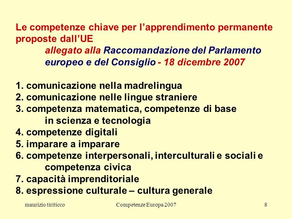 maurizio tiriticcoCompetenze Europa 20078 Le competenze chiave per lapprendimento permanente proposte dallUE allegato alla Raccomandazione del Parlamento europeo e del Consiglio - 18 dicembre 2007 1.