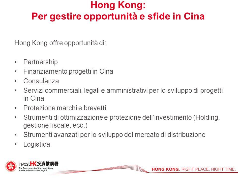Hong Kong: Per gestire opportunità e sfide in Cina Hong Kong offre opportunità di: Partnership Finanziamento progetti in Cina Consulenza Servizi comme