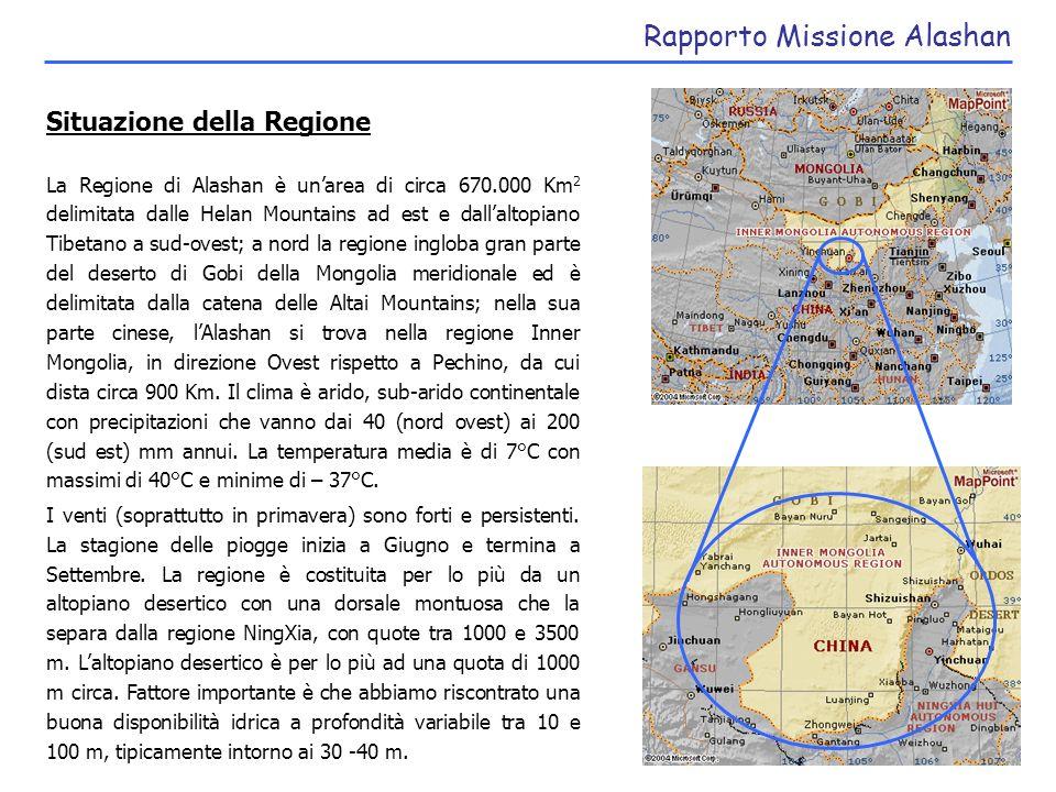 Rapporto Missione Alashan Fattori sociali Gli abitanti della regione ammontano a 200.000 unità.