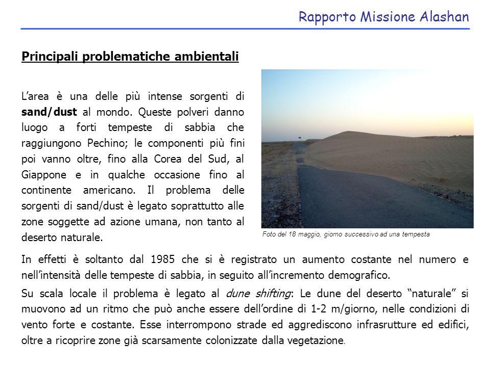 Rapporto Missione Alashan Fattori e cause del problema Over-grazing: capre, cammelli, cavalli, pecore sono diffusi nel territorio e distruggono ampie zone di vegetazione.