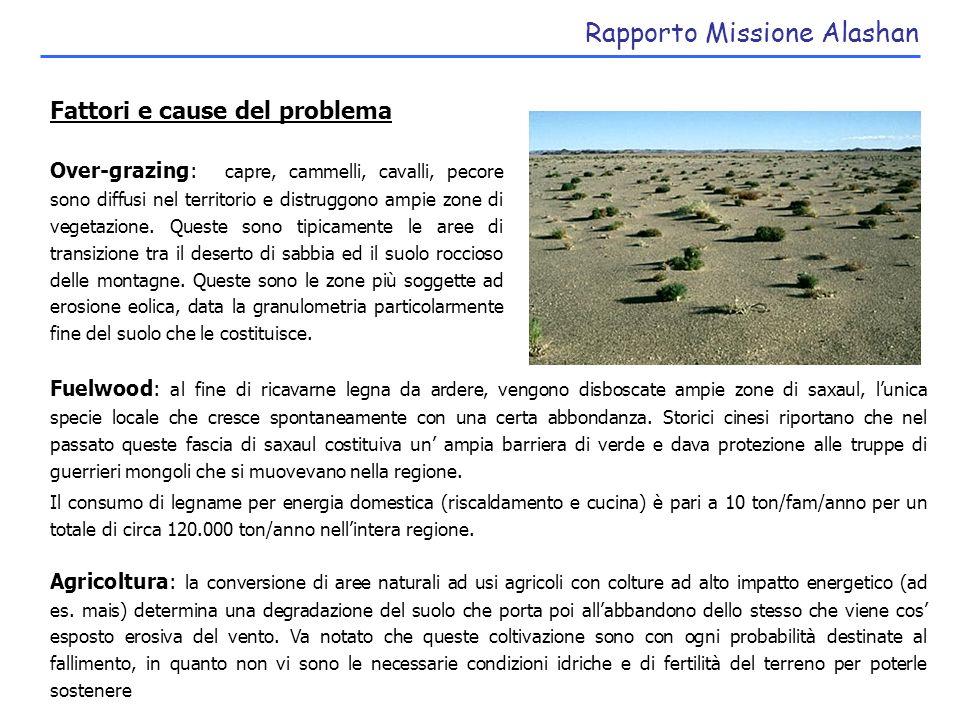 Rapporto Missione Alashan Possibili approcci Il problema da affrontare è quello di ridurre, in intensità ed estensione, le sorgenti di sand/dust che alimentano le tempeste.