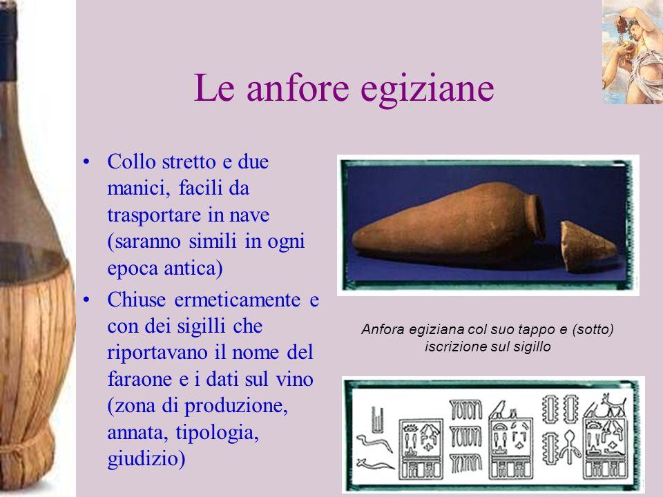Le anfore egiziane Collo stretto e due manici, facili da trasportare in nave (saranno simili in ogni epoca antica) Chiuse ermeticamente e con dei sigi
