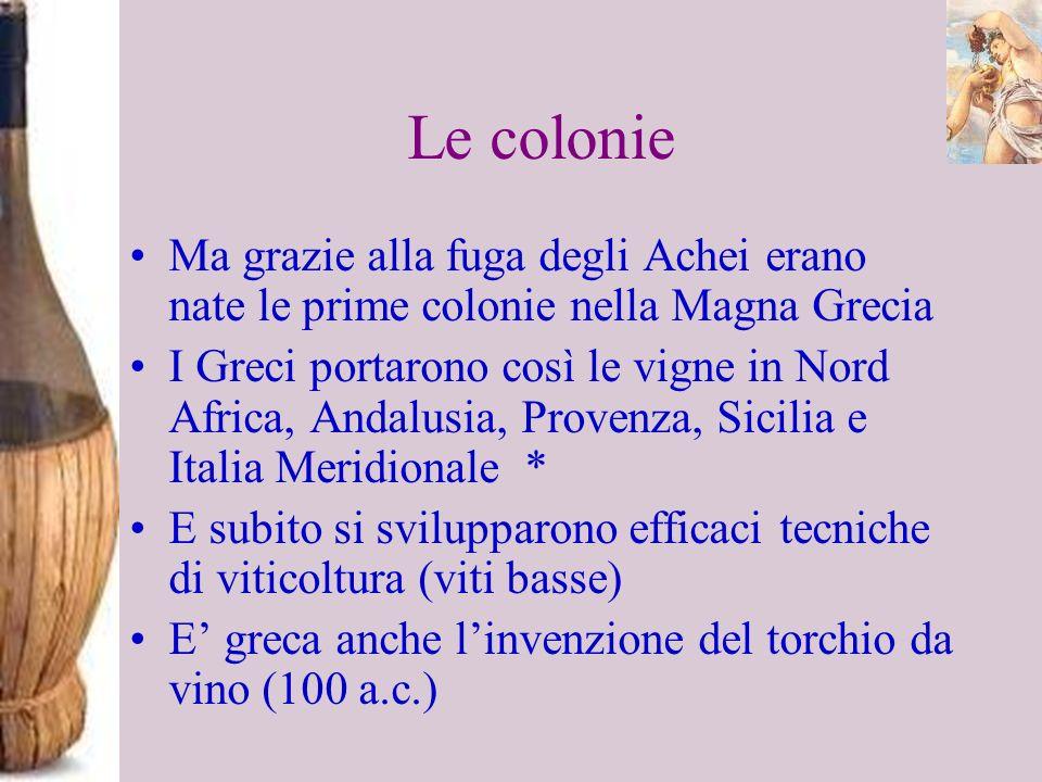 Le colonie Ma grazie alla fuga degli Achei erano nate le prime colonie nella Magna Grecia I Greci portarono così le vigne in Nord Africa, Andalusia, P