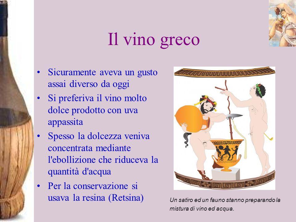 Il vino greco Sicuramente aveva un gusto assai diverso da oggi Si preferiva il vino molto dolce prodotto con uva appassita Spesso la dolcezza veniva c