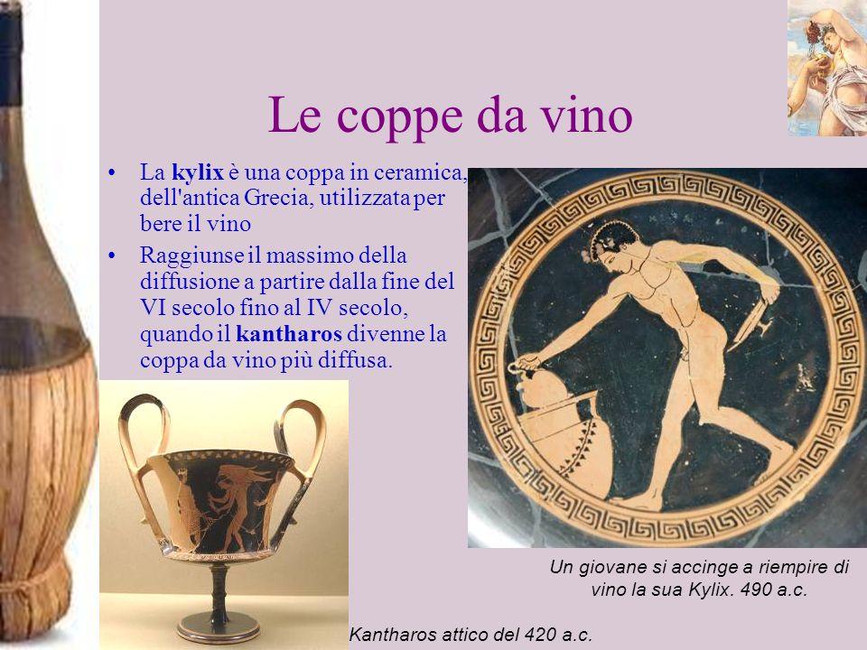 Le coppe da vino La kylix è una coppa in ceramica, dell'antica Grecia, utilizzata per bere il vino Raggiunse il massimo della diffusione a partire dal