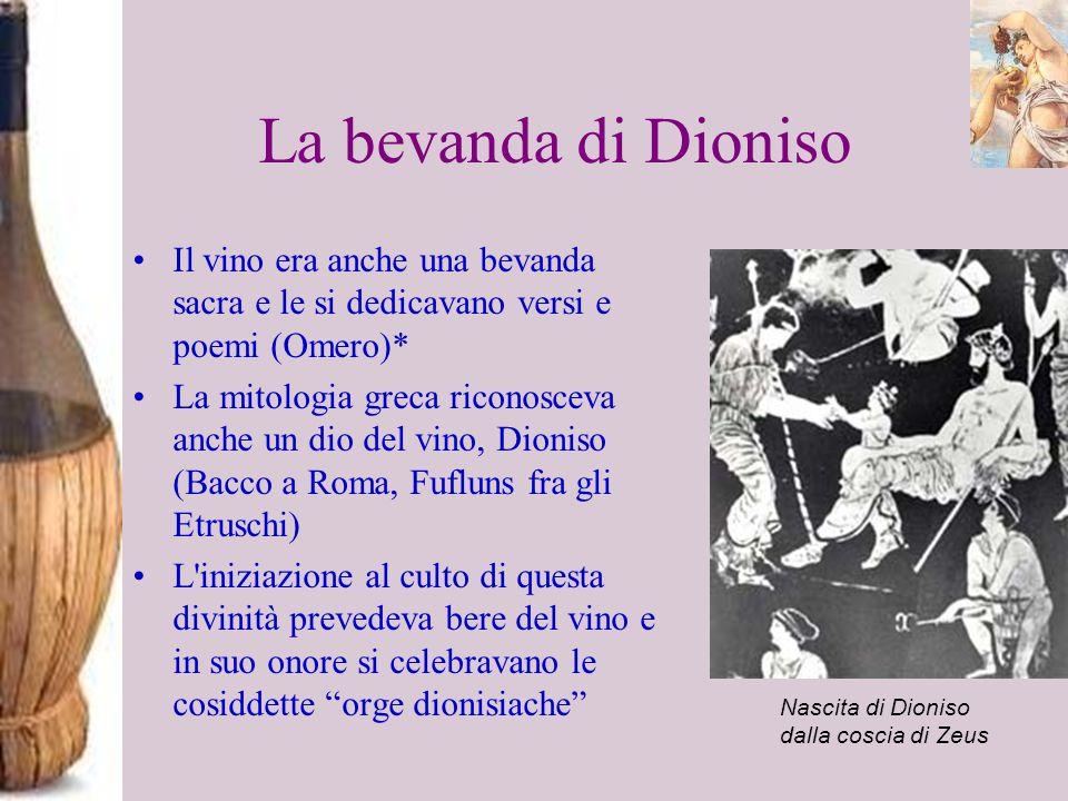 La bevanda di Dioniso Il vino era anche una bevanda sacra e le si dedicavano versi e poemi (Omero)* La mitologia greca riconosceva anche un dio del vi